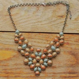 Lovely Glass Cabochon Bib Statement Necklace